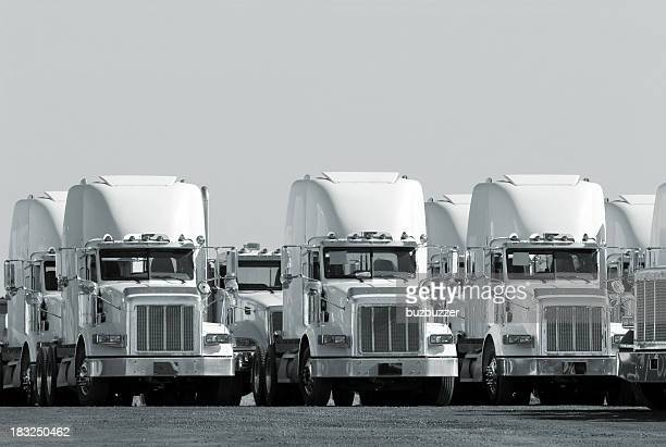 Modern Truck Fleet in Monochrome