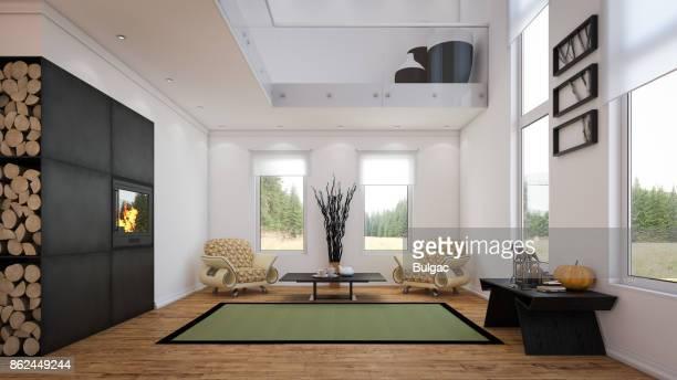 Modern Two-Level Living Room