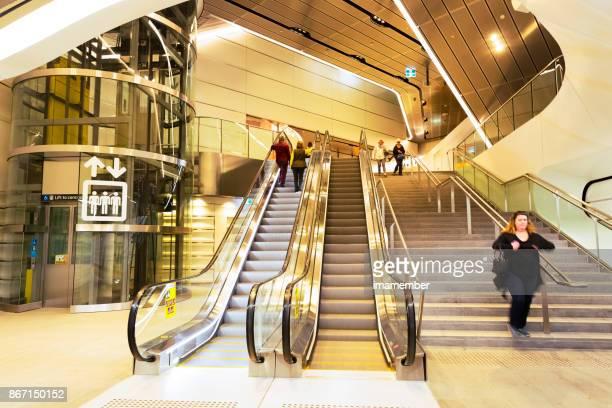 Modern underground subway, Sydney Australia, copy space