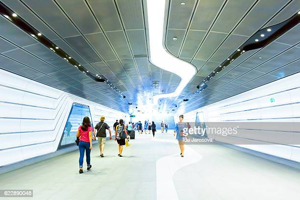 Modern underground subway with passengers and travellers Sydney Australia