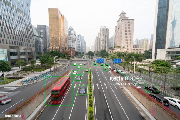 modern urban city cbd ai deep learning and big data - deep learning stock pictures, royalty-free photos & images