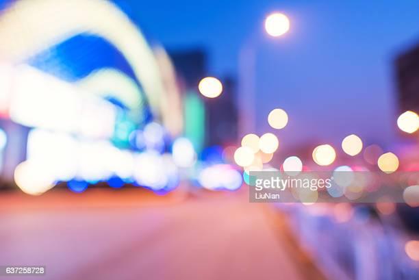 Modern urban night lights defocused abstract background