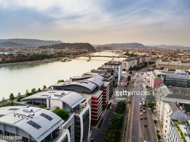 modern urban parts of budapest, hungary, aerial view on modern architecture in the capital city and business district - budapest stock pictures, royalty-free photos & images