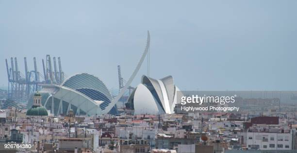modern valencia on a foggy day - highlywood stock photos and pictures