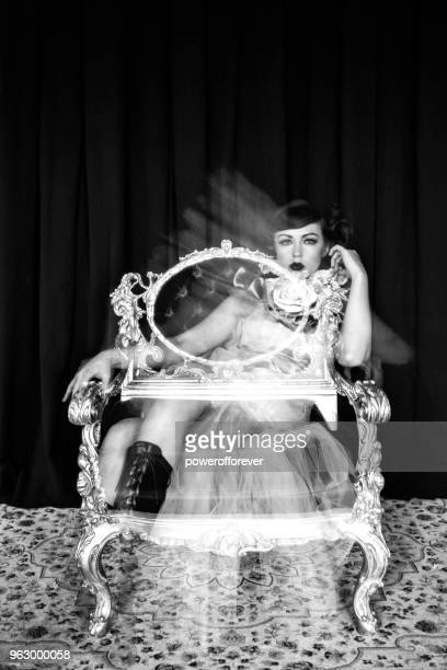 modern victorian fashion - ghosted image - victorian erotica stock photos and pictures