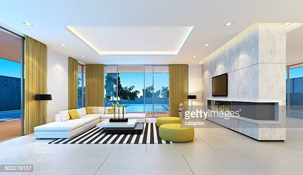 modern villa interior - penthouse stock pictures, royalty-free photos & images