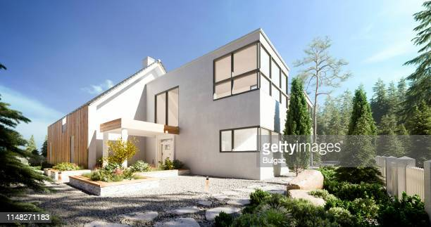 modern villa - outdoors stock pictures, royalty-free photos & images