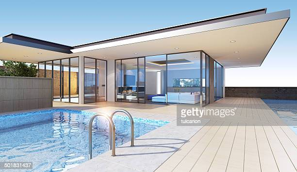 modern villa - penthouse stock pictures, royalty-free photos & images