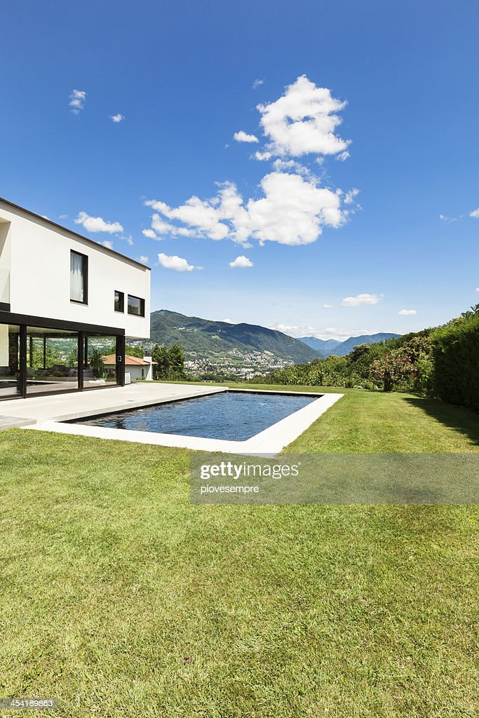 Modern villa with pool : Stock Photo