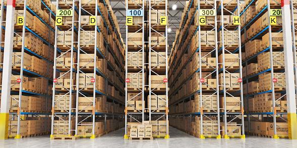 Modern warehouse full of cardboard boxes. 3d illustration 933454586