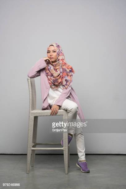 modern way of being traditional - malay hijab stock photos and pictures