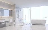 Modern white bathroom 3d rendering image