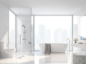 Modern white bathroom with city view 3d render