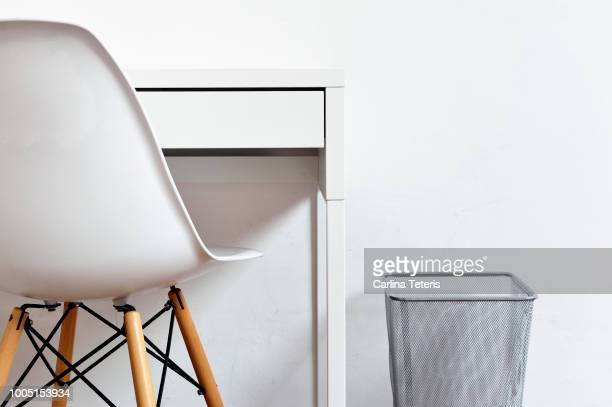 modern white desk, chair and waste paper basket - office chair stock pictures, royalty-free photos & images