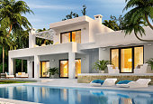 Modern white house with swimming pool