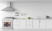 Modern white kitchen countertop with gas stove for mockup, 3D rendering