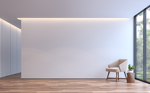 Modern white living minimal style 3d rendering image 868296928