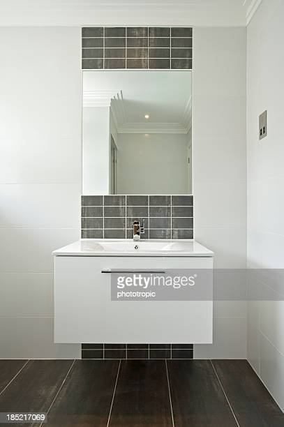 modern white wash basin - architectural cornice stock photos and pictures