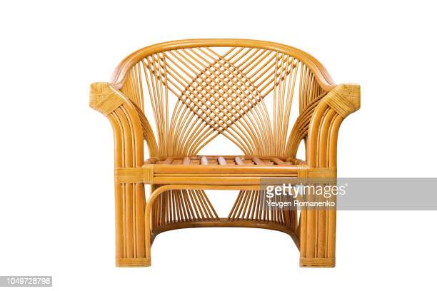 modern wicker chair isolated on a white background - wicker stock pictures, royalty-free photos & images