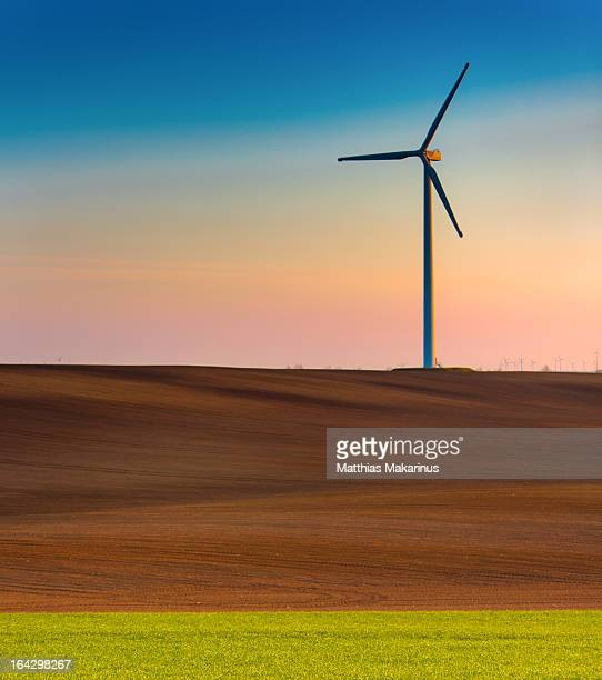 modern wind energy turbine power station - makarinus stock photos and pictures
