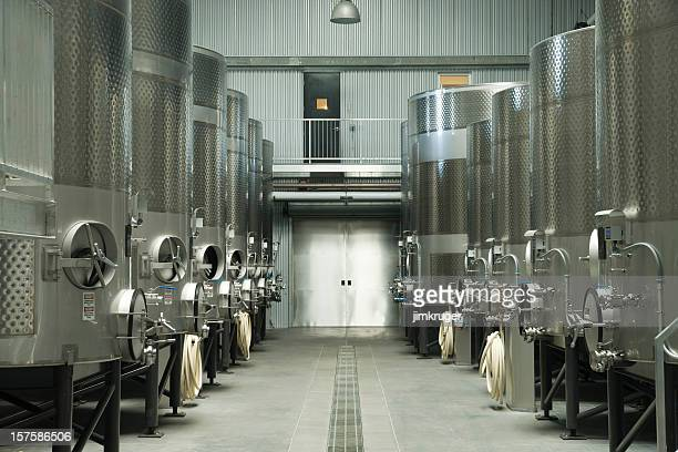 Modern winery fermenting facility.