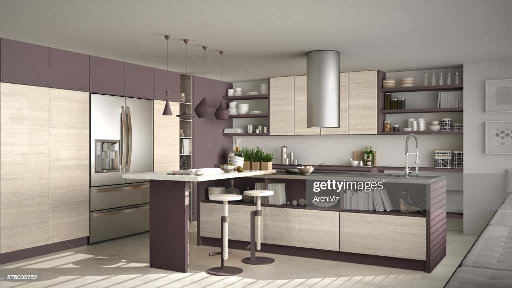 Modern Wooden Kitchen With Wooden Details White And Red