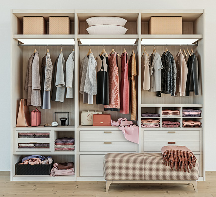modern wooden wardrobe with women clothes hanging on rail in walk in closet design interior, 3d rendering 1141212809