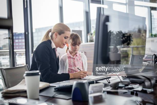 Modern working woman with child