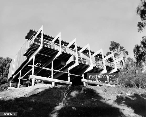 A modernist stilt house designed by architect Richard J Neutra on a hillside in Sherman Oaks Los Angeles California circa 1965 These houses built on...