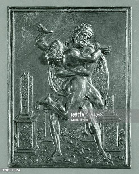 Moderno , Hercules and Antaeus, Moderno , model ca. 1488–89 , Copper alloy with a brown natural patina under a dark layer of wax; pierced at the...