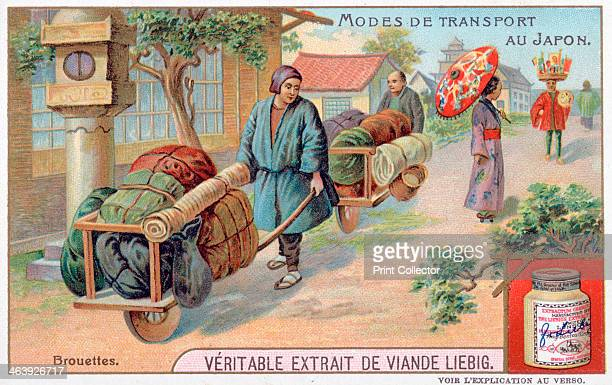 Modes of transport in Japan wheelbarrow 19th century French advertising for Liebig Extract of Meat Private Collection