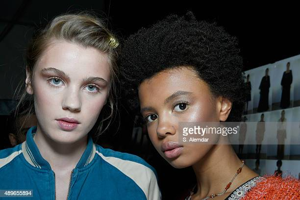 Modesl are seen backstage ahead of the Alberta Ferretti show during Milan Fashion Week Spring/Summer 2016 on September 23 2015 in Milan Italy