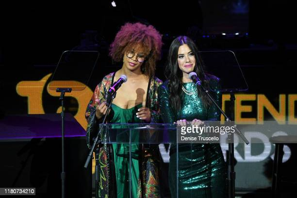 Modest Jones and comedian Rachel Wolfie Wolfson cohost the First Budtender Awards at Light Nightclub at Mandalay Bay Hotel and Casino on October 12...
