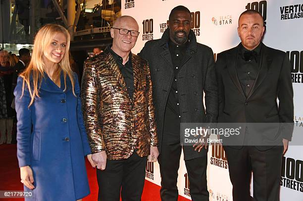Modesta Vzesniauskaite John Caudwell Idris Elba and Leon F Butler attend the UK Premiere of 100 Streets at the BFI Southbank on November 8 2016 in...