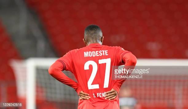Modeste reacts after the German first division Bundesliga football match VfB Stuttgart v 1 FC Cologne in Stuttgart southern Germany on October 23...
