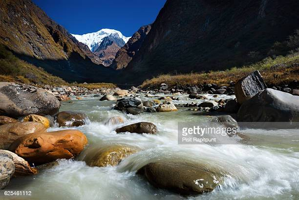 modi khola river - machapuchare stock photos and pictures