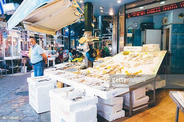 Modiano street market in Thessaloniki, Greece.
