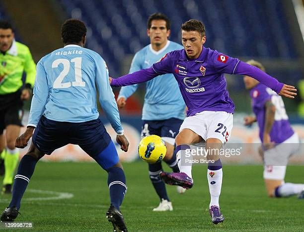 Modibo Diakite' of SS Lazio competes for the ball with Adem Ljajic of ACF Fiorentina during the Serie A match between SS Lazio and ACF Fiorentina at...