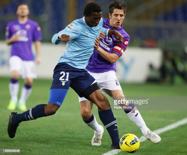 Modibo Dikite' of SS Lazio competes for the ball with Stevan Jovetic of ACF Fiorentina during the Serie A match between SS Lazio and ACF Fiorentina...