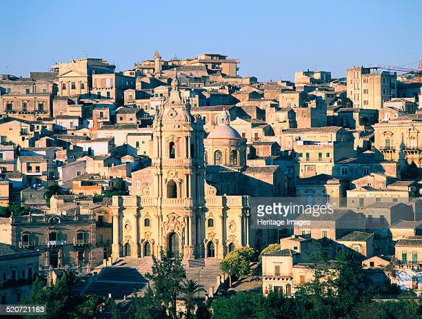 Modica Sicily Italy At the centre is the Church of San Giorgio a fine example of Sicilian Baroque architecture built to a design by Rosario Gagliardi...