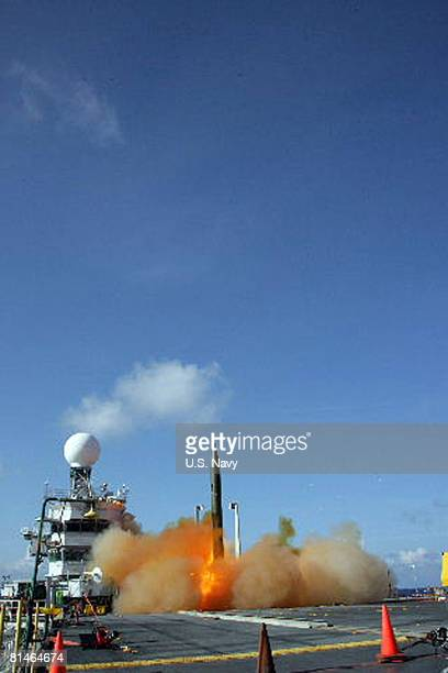 A modified Standard Missile 2 Block IV interceptor is launched from the guidedmissile cruiser USS Lake Erie during a Missile Defense Agency test to...