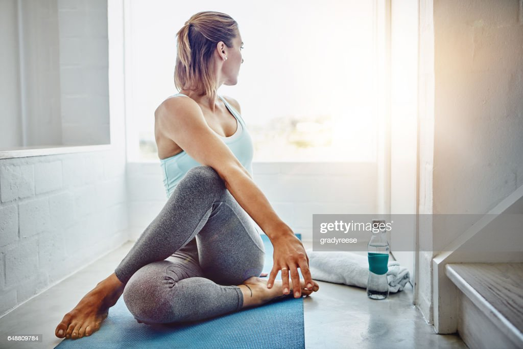 Modify each pose to feel comfortable in your own body : Stock Photo