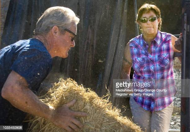 Modjeska Canyon resident Joanne Hubble an emergency volunteer watches as Bill Tarasi helps a friend load hay into his pickup truck Canyon residents...