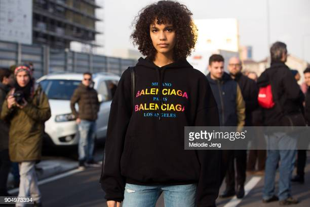 Modle Shelby Hayes wears a Balenciaga hoodie after the DSquared2 show during Milan Men's Fashion Week Fall/Winter 2018/19 on January 14 2018 in Milan...
