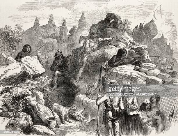 Modoc Indians ambush American soldiers in the Lava Beds, California, United States of America, the Modoc Indian War, illustration from the magazine...