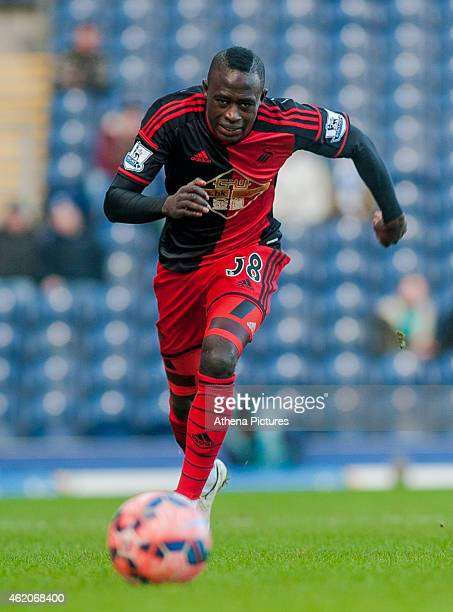 Modou Barrow of Swansea City chases the ball during the FA Cup Fourth Round match between Blackburn Rovers and Swansea City at Ewood park on January...