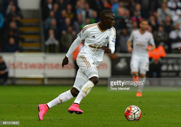 Modou Barrow of Swansea City during the Barclays Premier League match between Swansea City and Tottenham Hotpsur at the Liberty Stadium on October 4,...