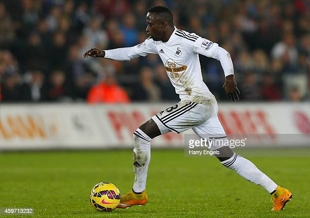 Modou Barrow of Swansea City in action during the Barclays Premier League match between Swansea City and Crystal Palace at the Liberty Stadium on...