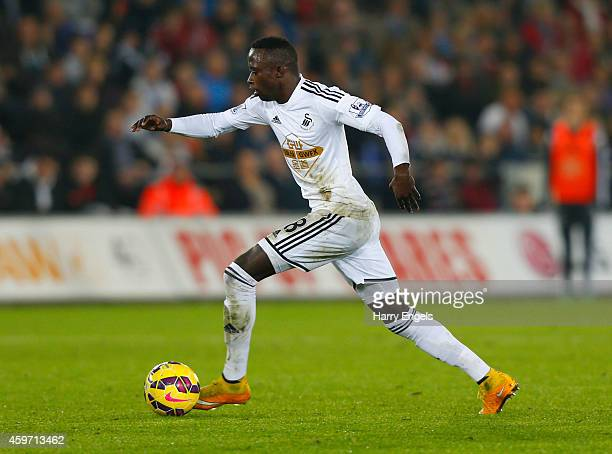 Modou Barrow of Swansea City in action during the Barclays Premier League match between Swansea City and Crystal Palace at Liberty Stadium on...