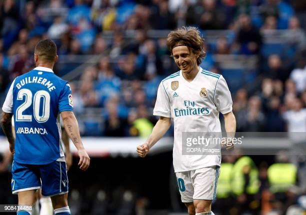 "Modric celebrates after scoring a goal. Real Madrid faced Deportivo de la Coruña at the Santiago Bernabeu stadium during the Spanish league game ""La..."